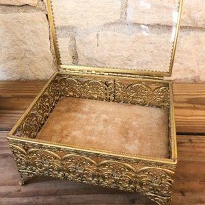 Gold Ormolu Filigree Jewelry Casket Trinket Box